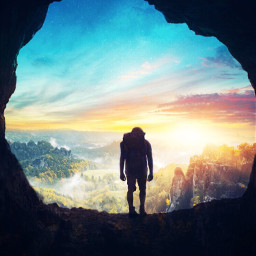 cave man sightseeing myedition surreal