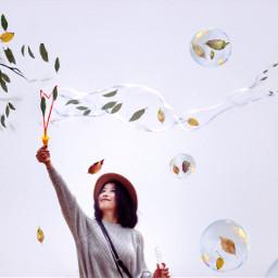 freetoedit woman leafs fall branch ircbubbles
