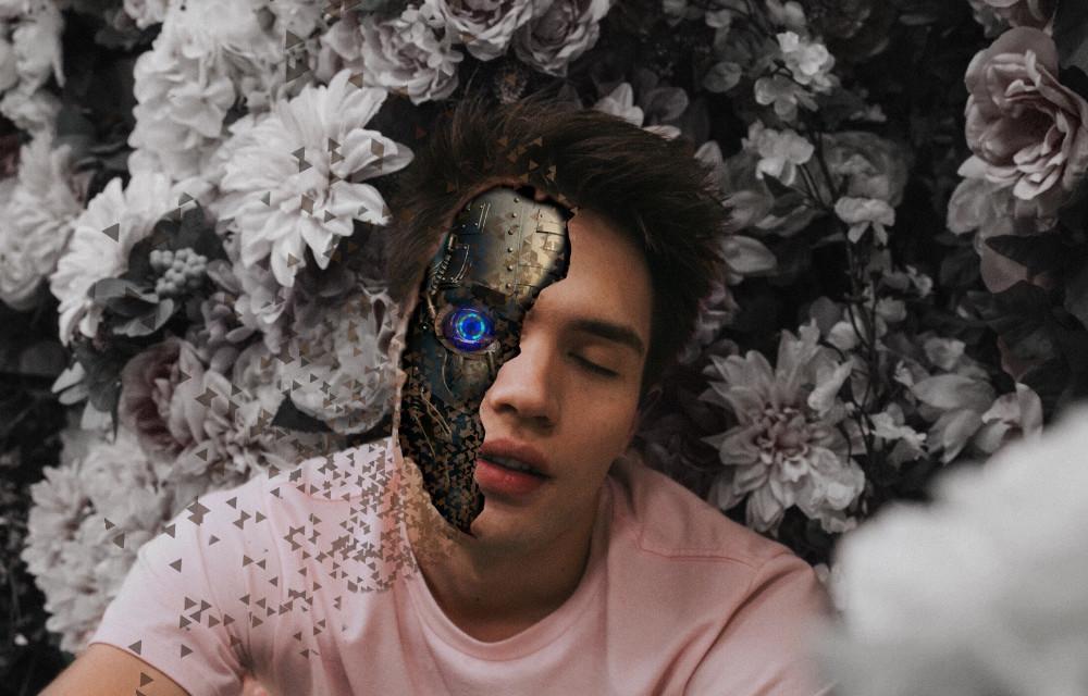 #freetoedit #man #robotface #face #robot #dispersion #tools #picsart #stickers #remixed #remixit #remixme #flowers