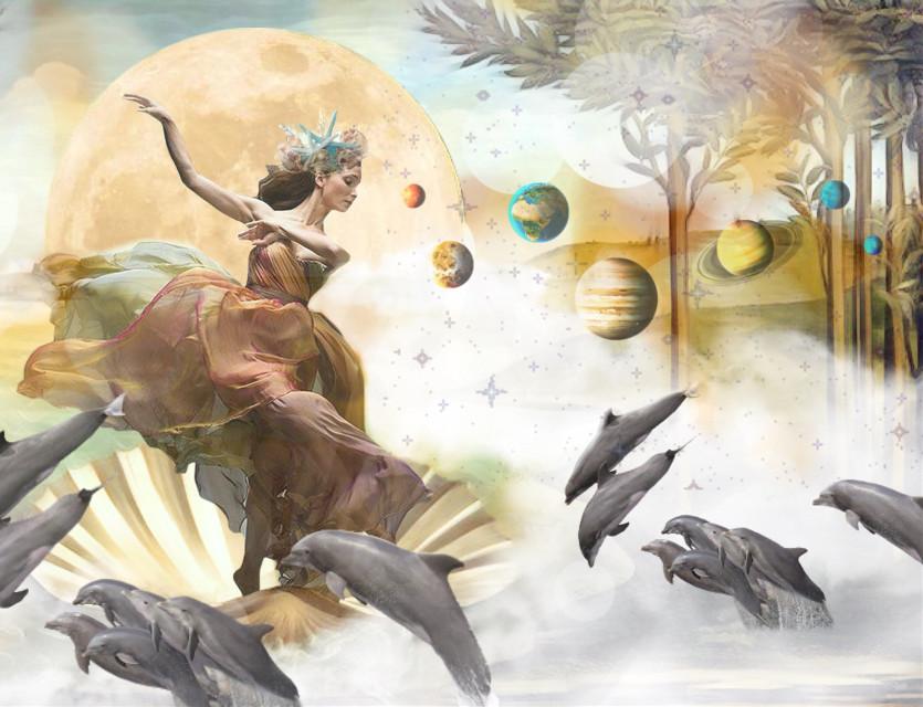 """Grace and beauty add to the stars above and the seas below"" #ircthebirthofvenus #thebirthofvenus #freetoedit"