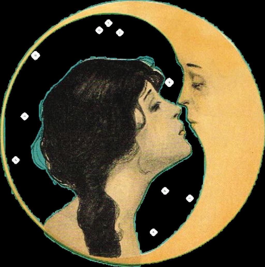 Moon Girl Kissing Yellow Love Kiss Freetoedit-1492