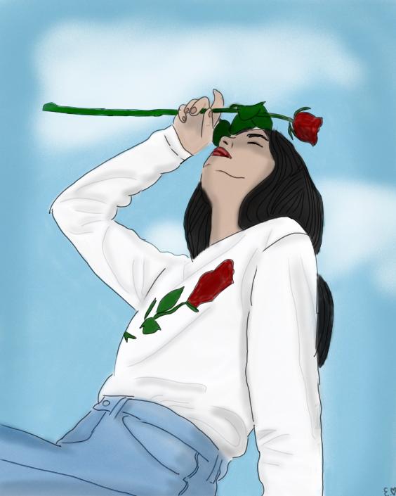 #freetoedit #girl #sky #clouds #blue #roses #80sbaby #80sstyle #art #drawing #myart