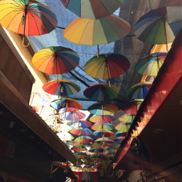 umberella rainbow colorful hanging sky freetoedit