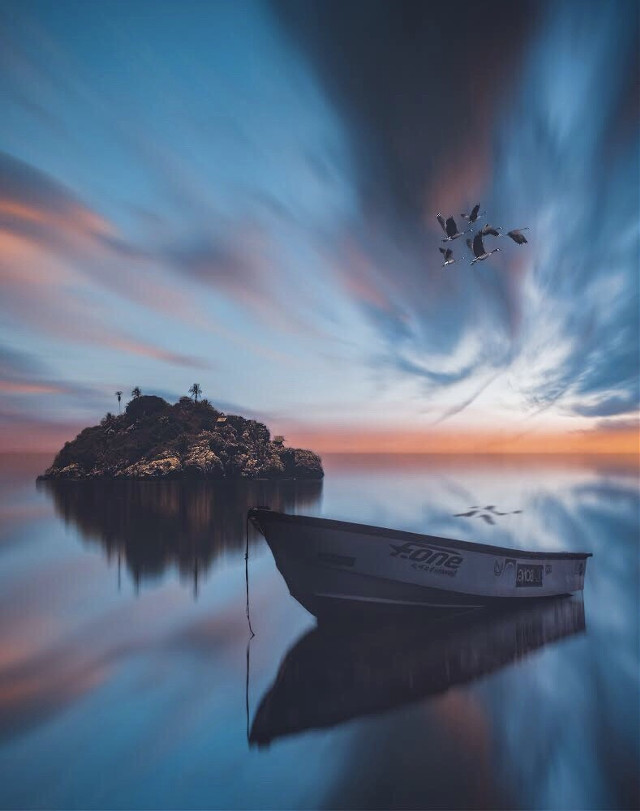 Just reflecting     #interesting #art #freetoedit #reflection #boat #sea #photography #sunset