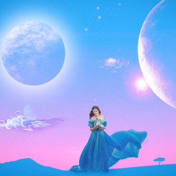 freetoedit fantasy moon woman planet