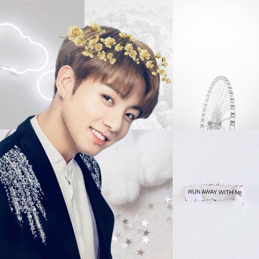 Jungkook Bts Kpop Flowercrown White Whiteaesthetic