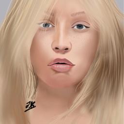 freetoedit christinaaguilera drawing portrait nomakeup
