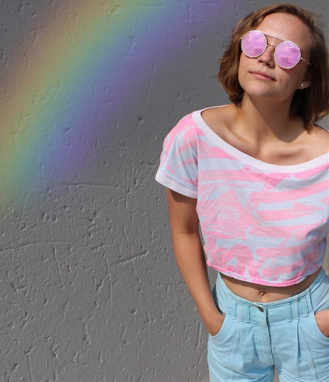 #rainbow #vintage #pink #pose #freetoedit