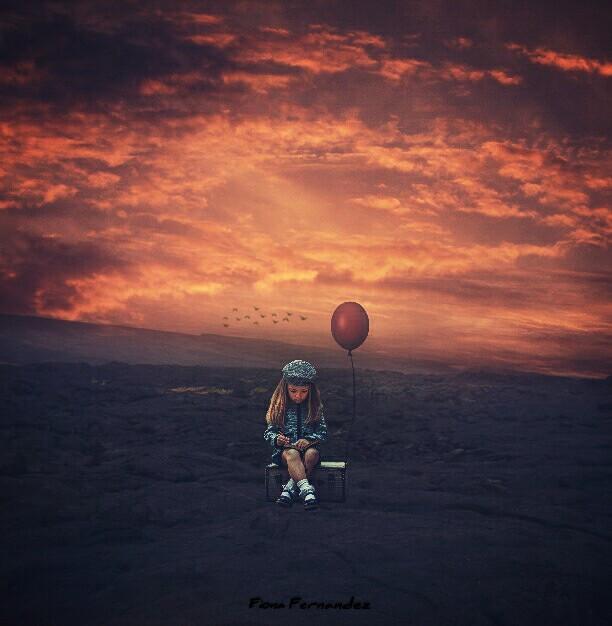 #freetoedit #littlegirl #balloon #alone #myedit #madewithpicsart