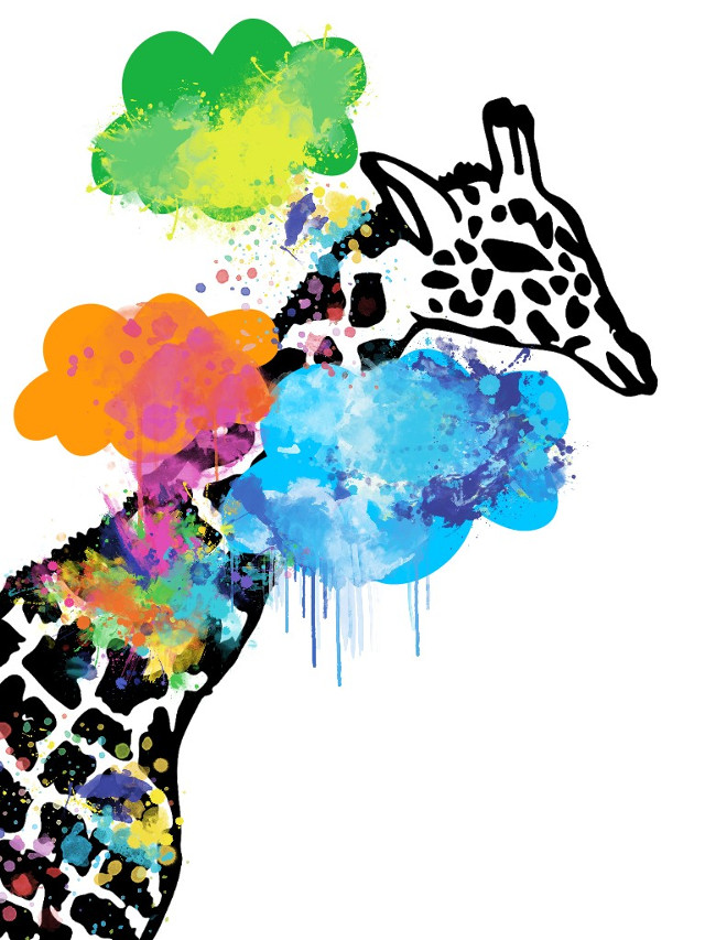 #giraffe  #clouds  #watercoloreffect #splash #splatter #ink #colorful #colorrain