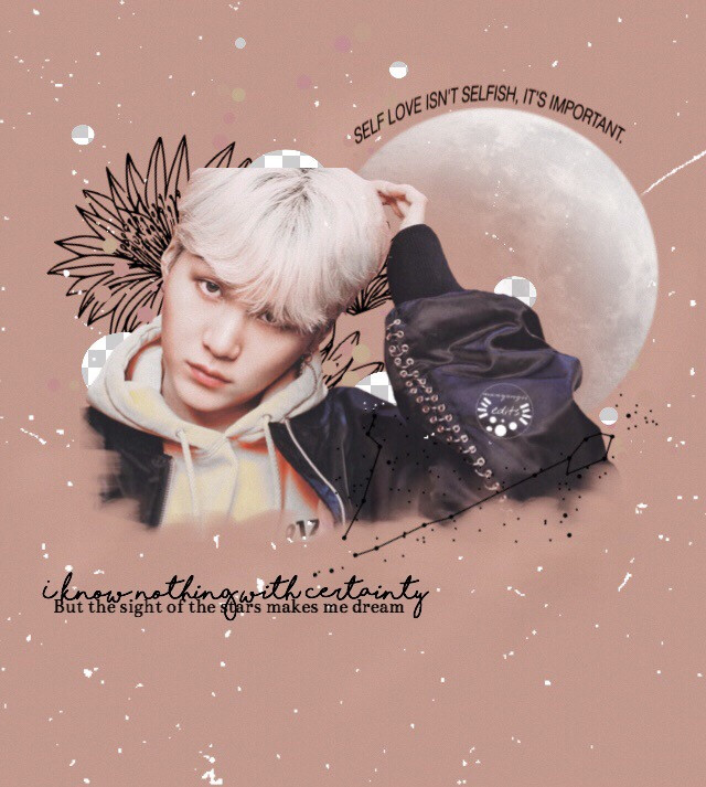 "'I know nothing with certainty,             But the sight of the stars makes              me dream'                               ~ vincent van gogh  Suga edit for @pasteljin #PJMoonContest ! 💞 hope you like this edit love!  Suga sticker ; @/pasteljin Flower sticker ; google images Pisces sticker ; google images Moon sticker ; @/seyyahh ""Self love isnt..."" sticker ; @/bts_jamzz  Inspired by @/yep-stehpark    -☁️requests are open!☁️-  #suga #sugabts #sugabtsedit #sugadrawing #minyoongi #minsuga #minyoongibts #drawing #bts #suga/yoongi♡ #yoongibts #yoongieoppa #sugaoppa #bts #army #jin #jimin #chimchim #namjoon #kimtaehyung #hoseok #jungkook #v #btsart #edit #drawing #freetoedit #kingjin #micdrop #loveyourself"