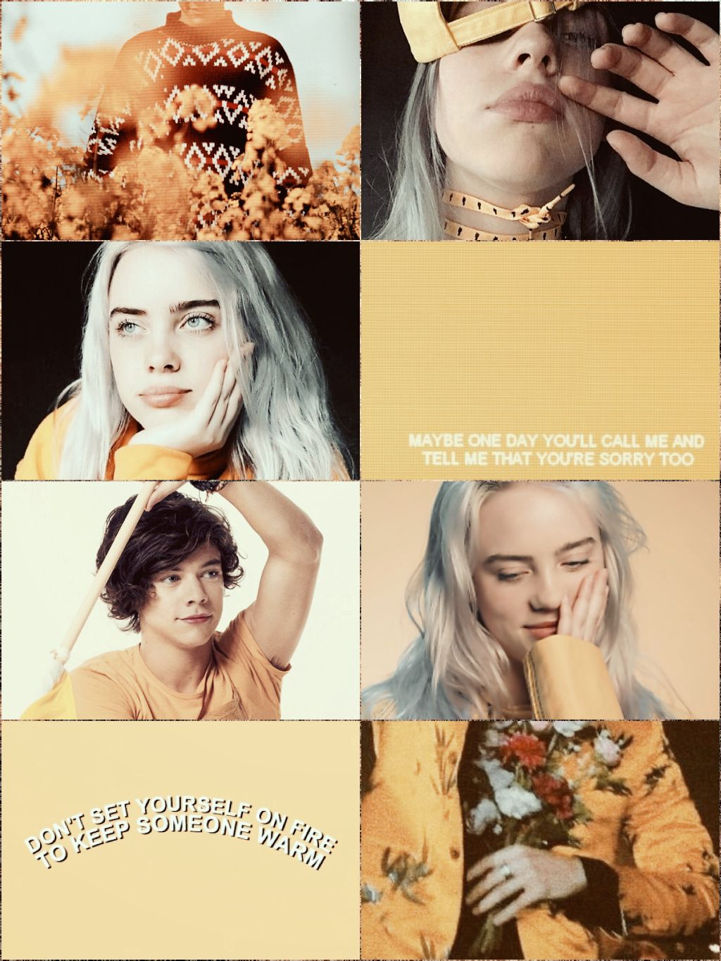 billieeilish harrystyles yellowaesthetic wallpaper