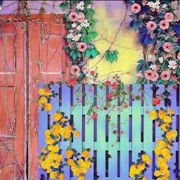 freetoedit backgrounds mothersdaybrush flowers fence