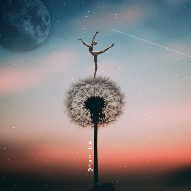 #freetoedit #surreal #dancer #moon #night #dandelion