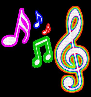neon music symbols - Sticker by miriam