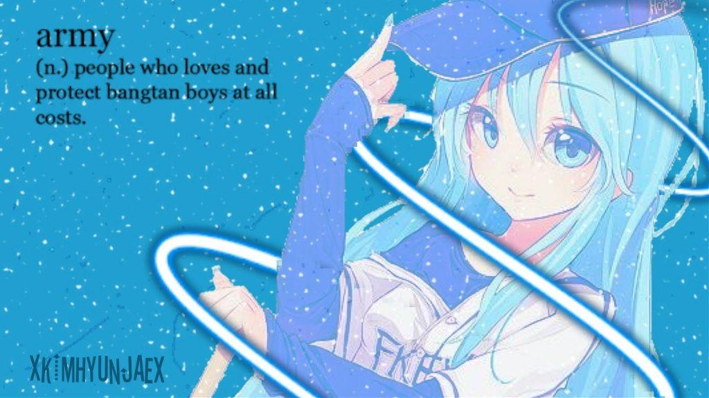 Freetoedit Wallpaper Pc Windows 10 Blue Animegirl