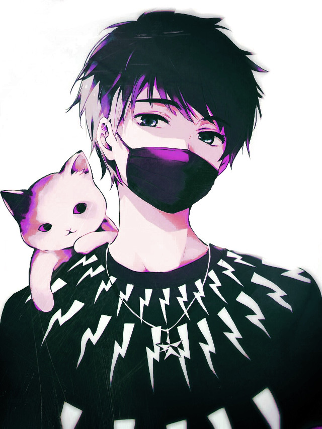 #freetoedit  sorry i havent been posting for a while expect a lot of anime pics #anime #amime boy #cat #mouthmask #animeedit