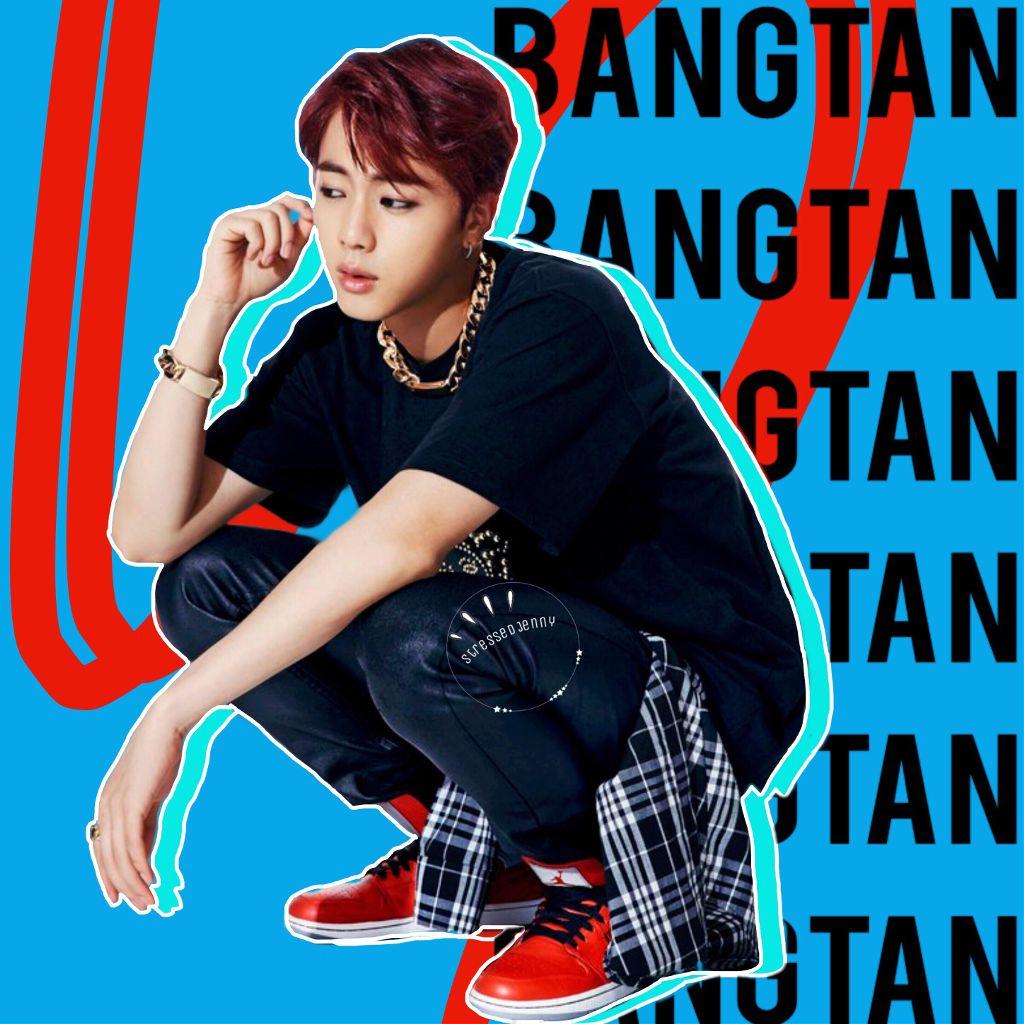 Jin.  #freetoedit #kimseokjin #jin #seokjin #bts #bangtanboys #beyondthescene #bangtan #blue #red #white #line #outline #text #words