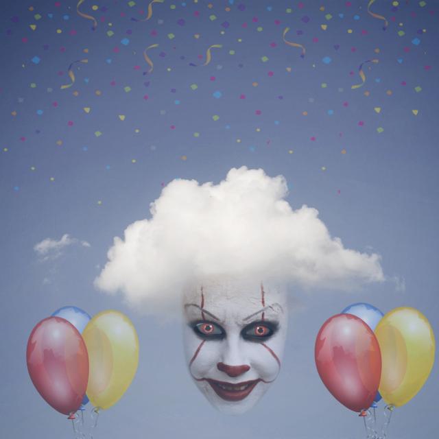 #FreeToEdit #clown #face #balloons #cloud #sky