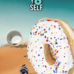 freetoedit man sitting donut cup ftestickers