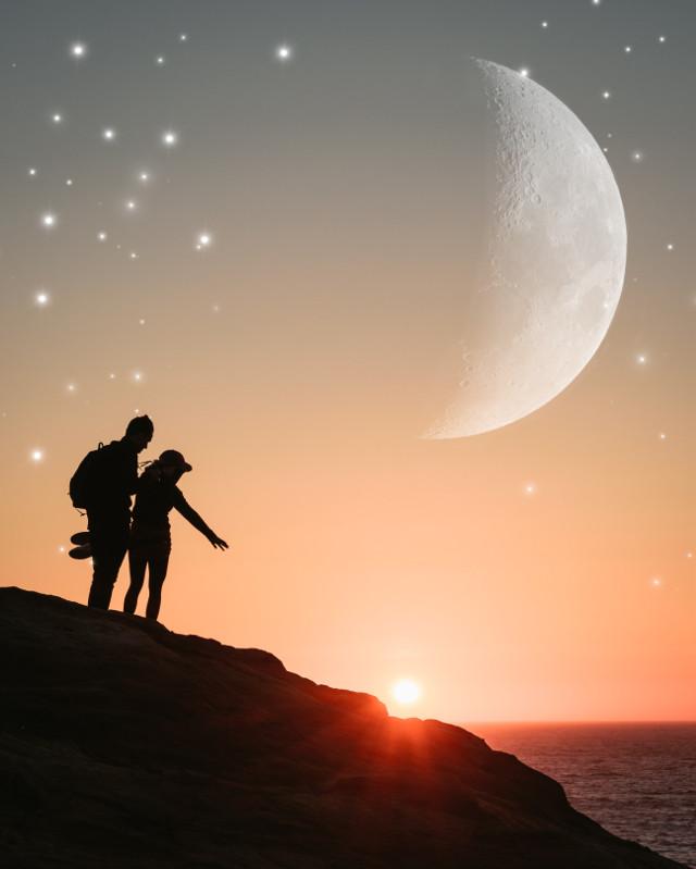 #sunset #sea #stars #moon