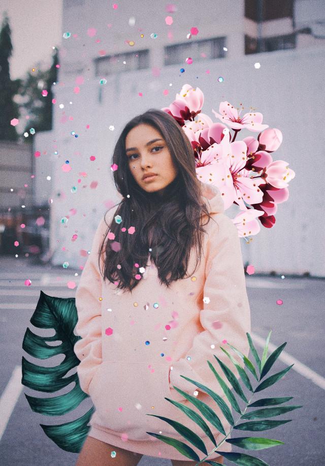 #freetoedit #girl #leaves #flowers #happy #pink