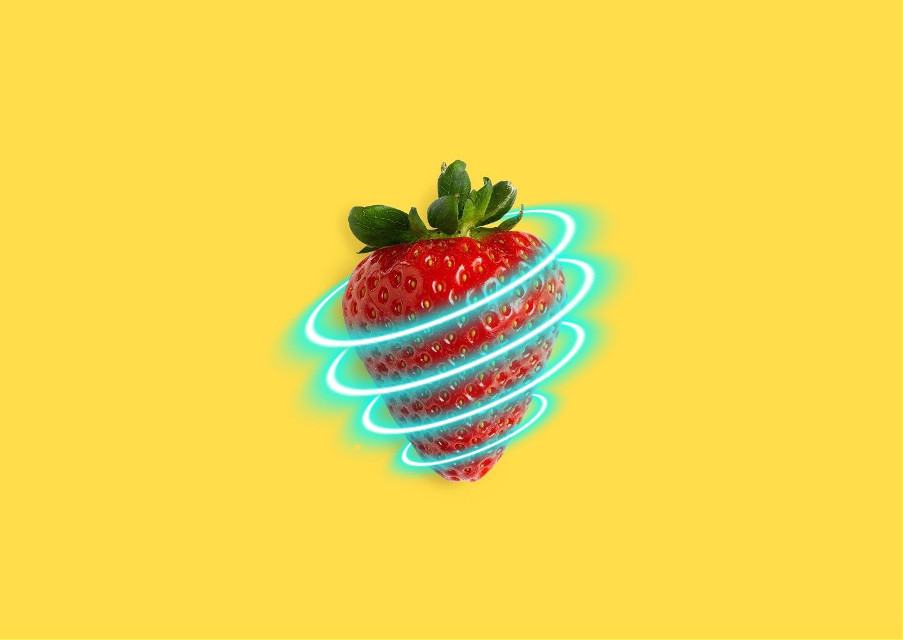 Celebrate the end of May with a neon strawberr-ay! Special thanks to @bibekumarshah for editing the photo by @apenas_r and @freetoedit. Berry season is finally here, so edit this pic or share an image of your fav. berry! #Strawberry #Berry #Neon #Yellow #FreeToEdit