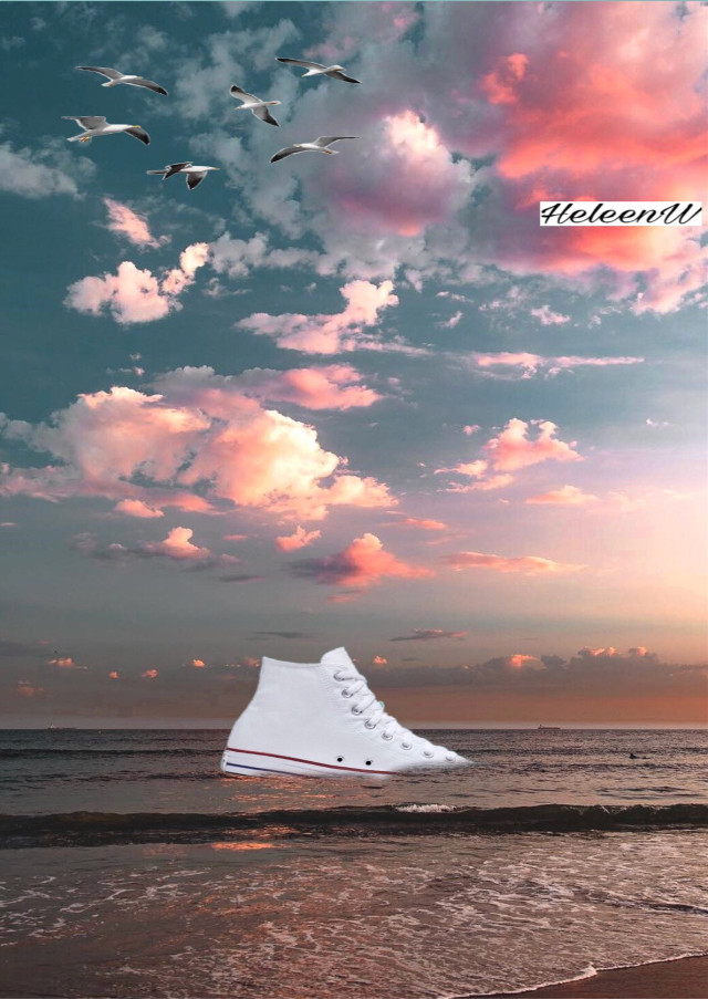 #ircstylishsneaker #stylishsneaker Sneaker in the sea #sneaker #white #stickers #madewithpicsart #boat #interesting #sky #sun #myedit #mystyle #myart #freetoedit