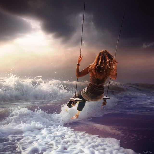 #freetoedit #girl #sea #clouds #sunset #fantasy