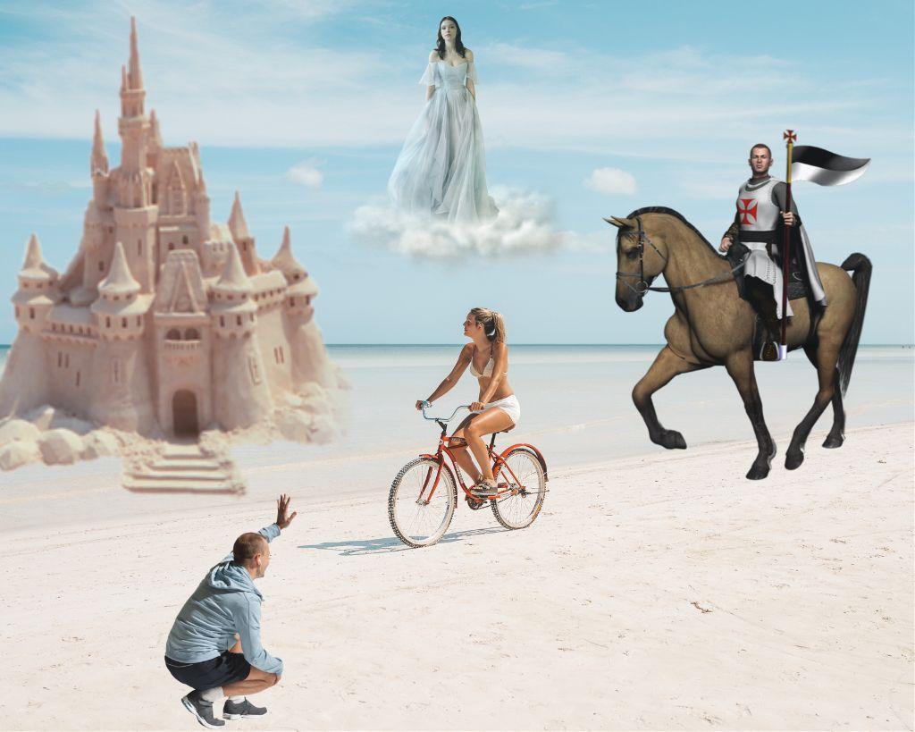 #fairytale #lady #castle #sandcastle #knight #beach #freetoedit #ircbikeronthebeach