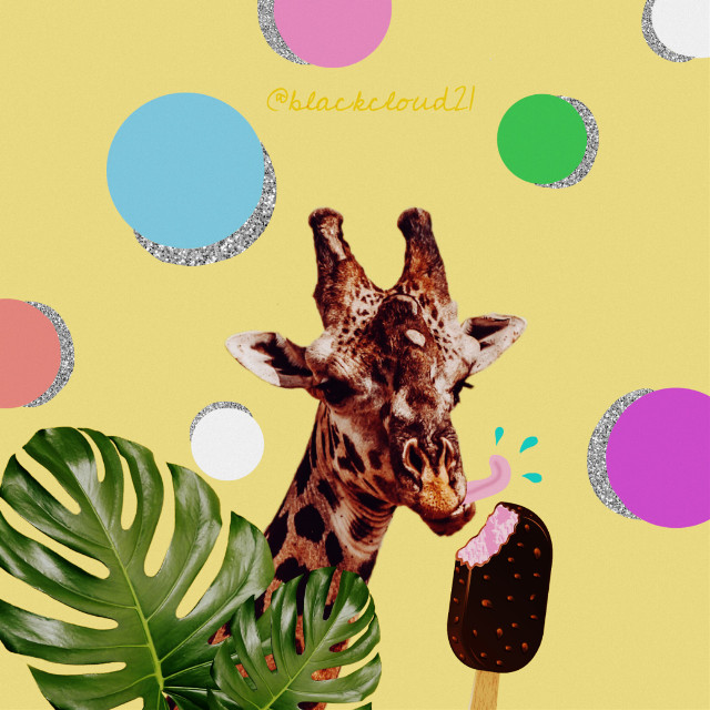 #madewithpicsart #madebyme #giraffe #colors #colorful #dots #glitter #icecream #leaves #animal #summer @picsart