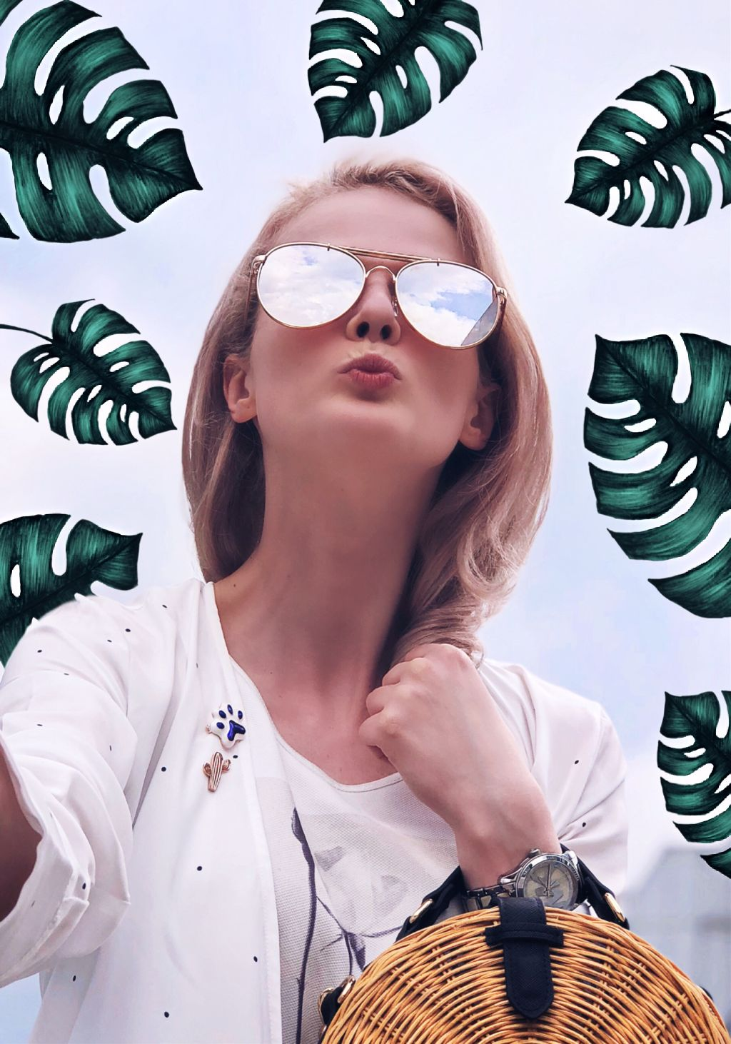 #freetoedit #interesting #girl #girly #spring #leaves #tropical #sunglasses #art #travel #sky #summer #stickers