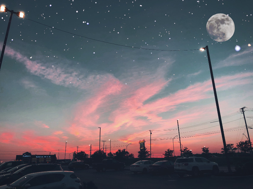 #moon #stars #sparkles #sunset #clouds #pinkclouds #sky #night #nightsky #madewithpicsart #dramaeffect #dodgereffect #picsart #blue #pink #hues #art