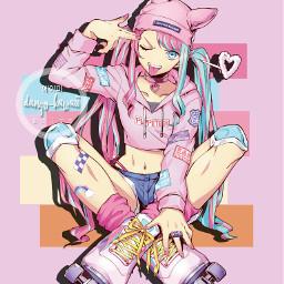 freetoedit animegirl girl anime pink