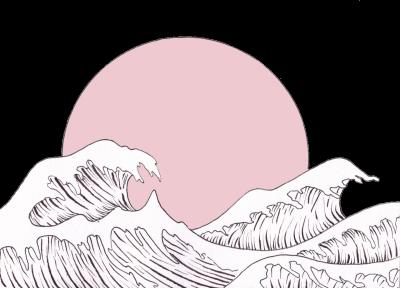 Waves aesthetic. Ocean sun water sticker
