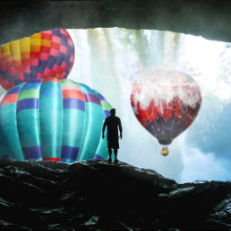 freetoedit shilouette hotairballoon waterfall splash ftestickers