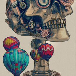 freetoedit skull skullhead skullart baloons srchotairballoon