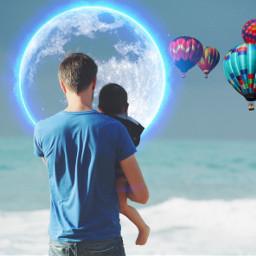 freetoedit beach moon balloons sea