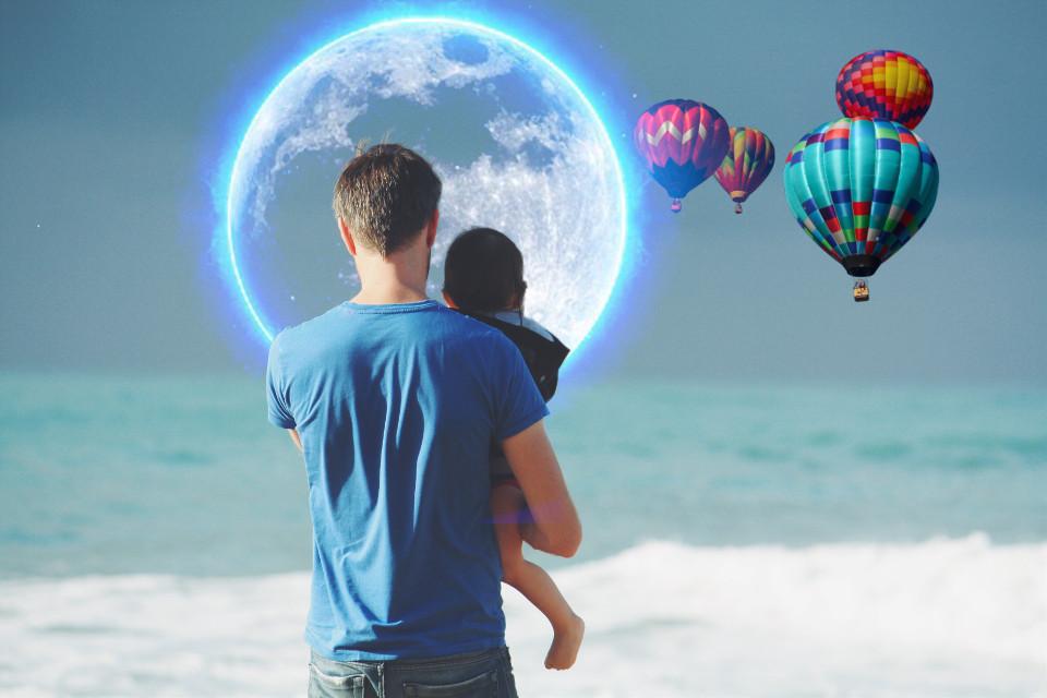 #freetoedit #beach #moon #balloons #sea