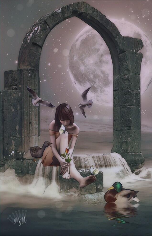 #editedbyme #imagination #fantasyart #digitalart #moon #seaside