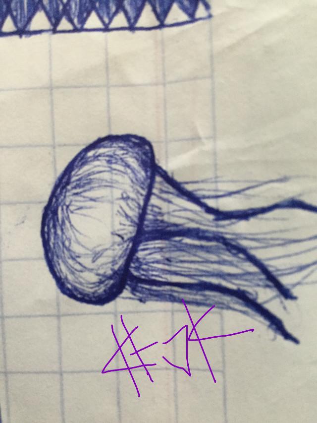 School doodle heheh i was at math doing nothing 😅🤦🏻♀️   DONT STEAL PLEASE  #jellyfish #fish #doodle #schooldoodle #bored #blue #pen #cool #katoka #katokachan #katokateam