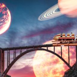 freetoedit planets bridge picsart edit