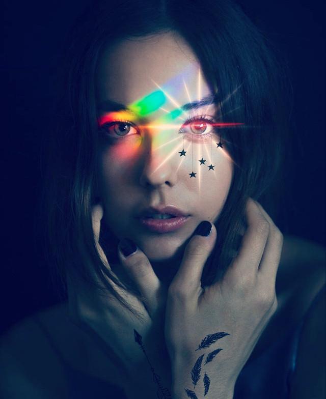 #freetoedit #flash #tattoo #arrow #redeye #stars #girl #night