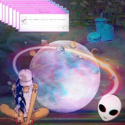 glitch pink moon girls freetoedit