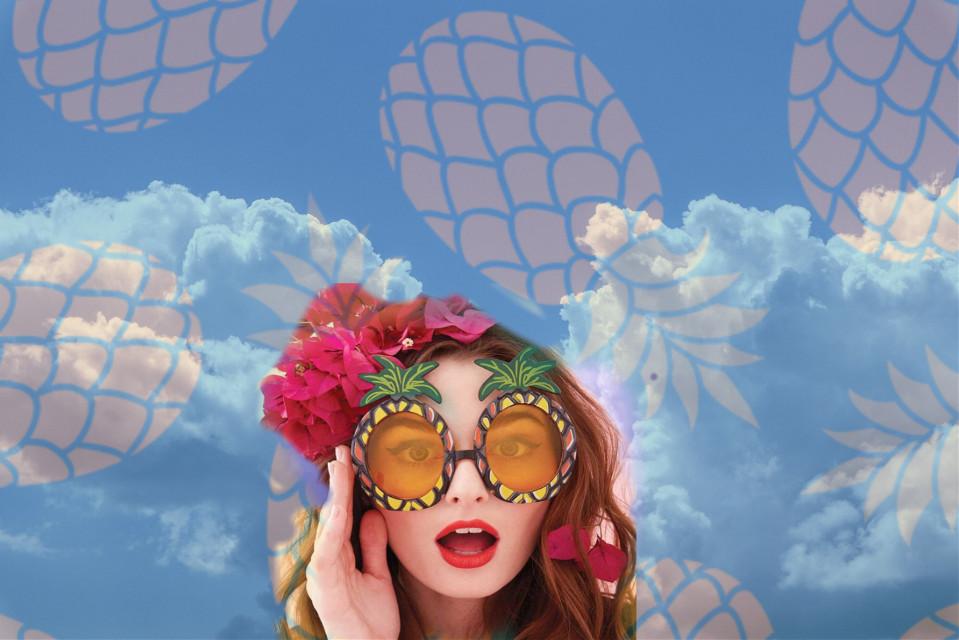 #freetoedit #sky #pineapple #summer #sunglasses