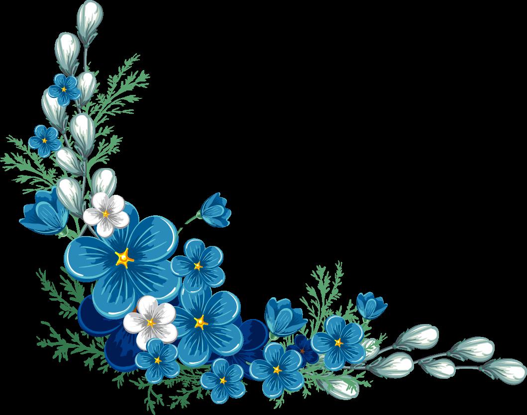 blue flower border flowers freetoedit