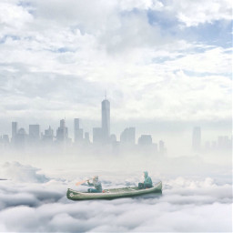 edited surreal cloudy boating cityscape