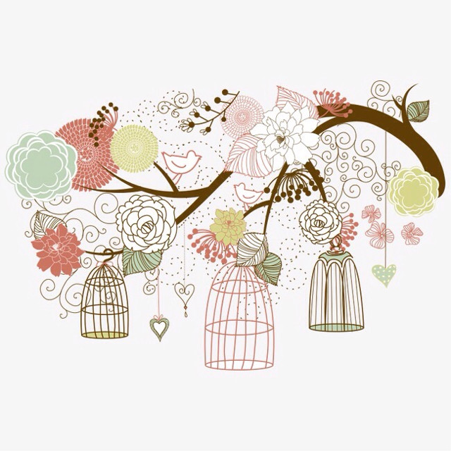 #bird #birds #birdie #birdy #birdcage #birdcages  #flowers #florals #leaves #treebranches  #illustration #sticker #stickers #ftesticker  #remix #remixit
