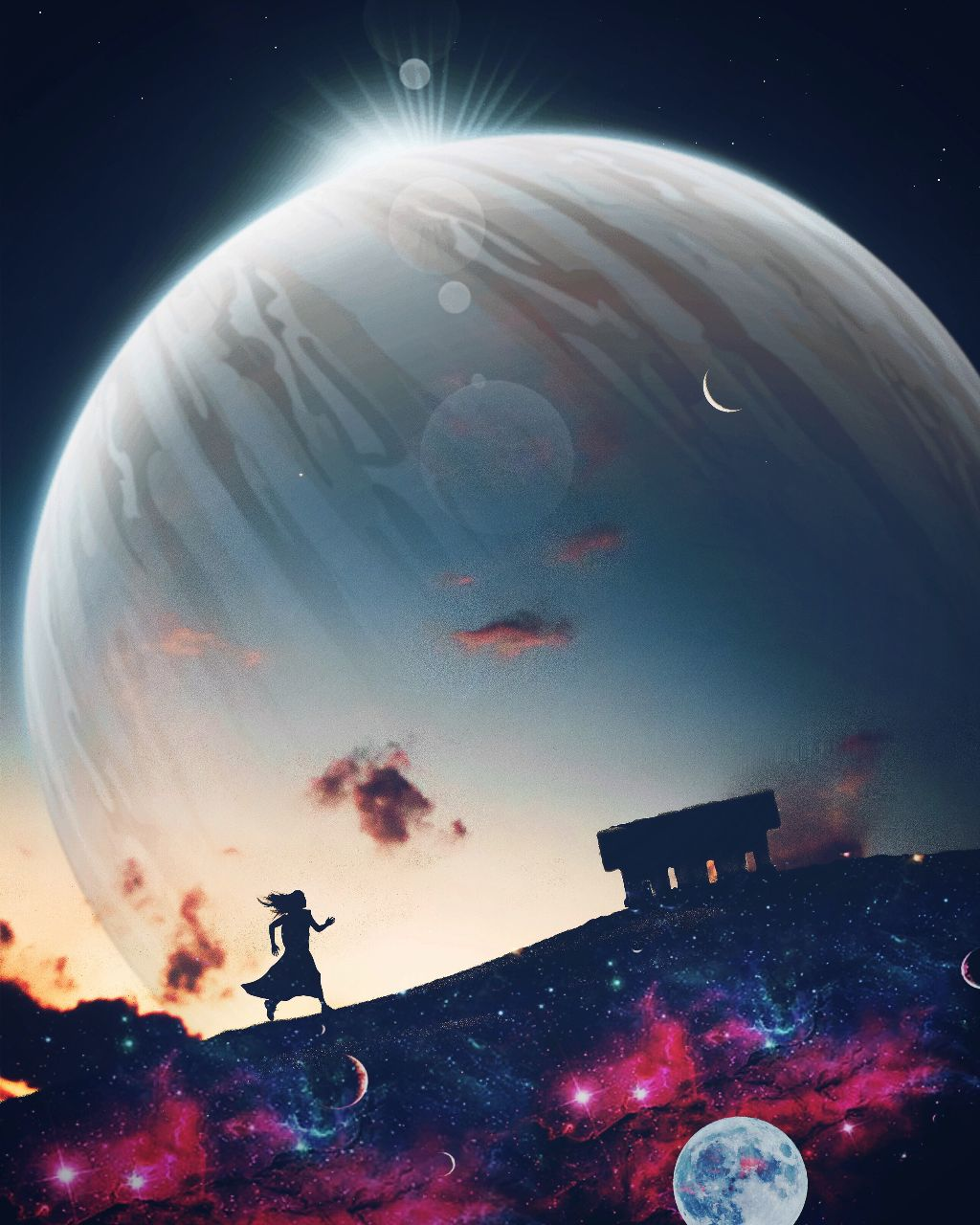 Escape....  #surreal #planet #bigger #sci-fi #scenes #silhouette #credits #image #source #stickers #freetoedit