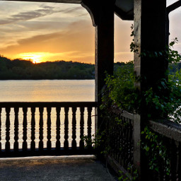 freetoedit sunset silhouette balcony pond pcbalcony
